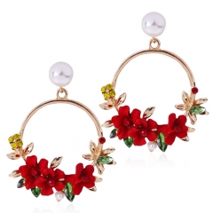 Female Earrings With Matching Alloy Inlaid Multicolor Resin Diamond Stud Earrings red one size
