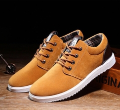 Single Cotton Men Student Skid Wear-Resistant Cupola Fur Fashion British Men's Shoes coffee color 42