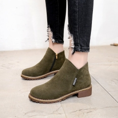 This Fall's New Women's Martin Boots With Round Head And Side Zipper Suede Single Shoe green 40
