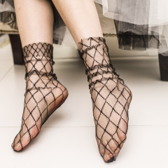 Fresh And Breathable Flower Netting Gauze Transparent In The Tube Pile Socks Opposite Socks black one size