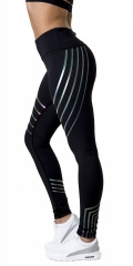 Streamer Digital Printing High Waist Tight Exercise Yoga Casual Leggings black s