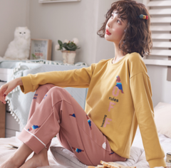 Cotton Pajamas Women Autumn And Winter New Cartoon Long Sleeve Home Wear Suit yellow m