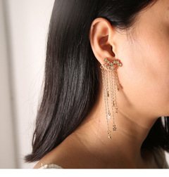 Long Fashion Jewelry Sparkling Star Fringed Back Pendant Exquisite Earrings Women gold one size