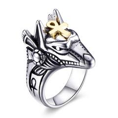 Anubis Egyptian Cross Titanium Steel Ring Men's Stainless Steel Ring Bracelet medium gold 7