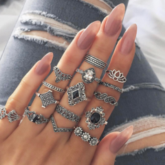 Bohemian Vintage Anemone Woman New Personality Ring  Set Of 15 Pieces silver one size