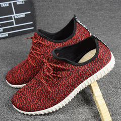 Men Fly Weave Belt Coconut Shoes Breathable Mesh Cloth Shoes Leisure Sport Running Shoes red 39