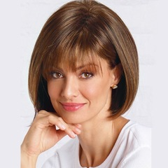 Women's Wig Style With Short BoBo Hair Cut Brown Short Straight Hair Wig the picture color one  size