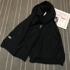 Scarf Matching Scarf Pure Color Knitted Wool Small Fresh Man Winter black 195*35CM