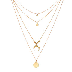 Fashionable And Fashionable Personality Multilayer Moon Circle Piece Pendant Necklace gold one size