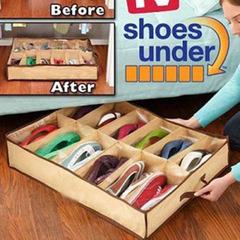 12 Boxes Of Transparent Shoes Non - Woven Home Storage Device Storage Arrangement khaki one  size