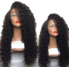 Wig For Women With Small Curly Hair Side Long Curly Hair black one  size