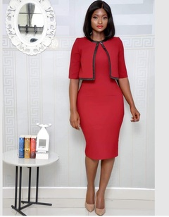 Two Pieces Of Matching PU-Leather Commuter Plus-Size Dress m red