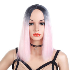 High - Temperature Silk Wig For Women With Long Straight Hair Dyed Gradient light pink one  size