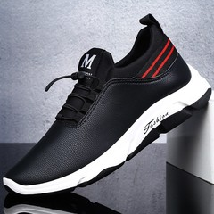Pu Leather Men's Shoes Running Shoes Casual Shoes Men's Sports Wind Single Shoes black 39
