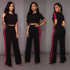 Fashion Women's Loose Slim Two Sets Of Wide-Leg Pants Women's Wear black s