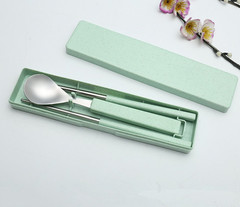 Stainless Steel Spoon Chopsticks Set Student Portable Cutlery set Spoon Chopsticks Fork green one   size