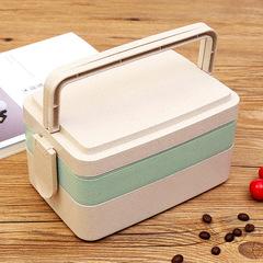Wheat Straw Lunch Box Bento Box Student Multi-Layer Lunch Box Sushi Box 19*12.5*10.5cm pink