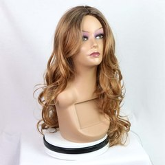 Synthetic Wig Female Oblique Bangs Long Curly Hair Big Wave In Gold Wigs  Cap the picture color one  size
