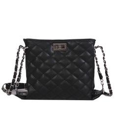 Bag Female Wild Rhombic Bag Trend Chain Solid Color Messenger Bag Shoulder Bag black one size