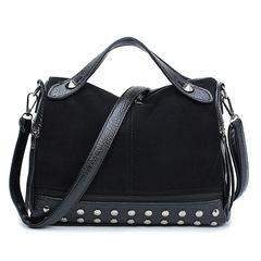 Rivet Handbag Bag Sander Bag Ladies Solid Color Shoulder Bag Woman Handbag black one size