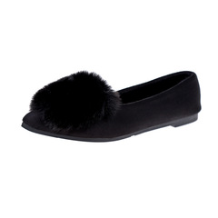 Single Shoes Female Round Head Shallow Mouth Fur Flat Shoes Female Peas Shoes black 36