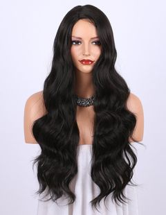 Synthetic Wig High Temperature Silk Long Bangs Long Hair Curly Rose Net Wigs Cap the picture color one  size