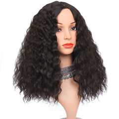 High Temperature Silk Wig Lady Partial Long Curly Hair Wave Black Woman Wigs Cap black one  size