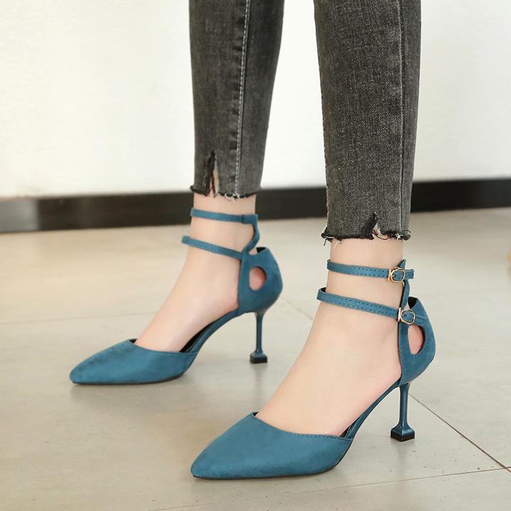 One-Button Buckle Sandals Female Stiletto Pointed Suede Single Shoes High Heel Side Air High Heels blue 39