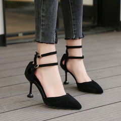 One-Button Buckle Sandals Female Stiletto Pointed Suede Single Shoes High Heel Side Air High Heels black 34