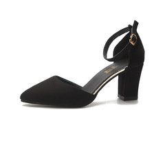 One-Button Sandals Female Thick With Baotou Sexy Thin Hollow Pointed High-Heeled Shoes Woman black 35