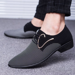 Men's Leather Shoes Shallow Mouth Pointed Color Before The Tie Men's Shoes Business  Casual Shoes Write 39 pu
