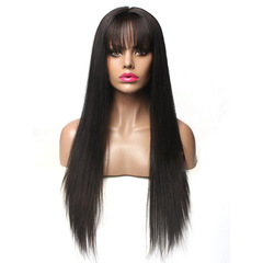 Synthetic High Temperature Silk Wig Long Straight Hair In The Bangs Ladies Black 70cm Wigs Cap black one  size