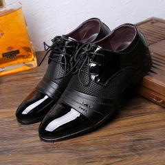 Men's Casual Leather Pointed Low-Cut Striped Shoes Men's Shoes Dress Shoes black 39 pu