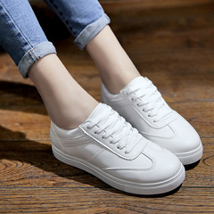 Lace-up White Shoes Comfortable Flat-bottom Sports Shoes Solid Color Wild Women's Shoes white 36