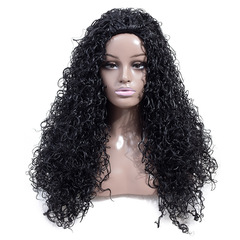 Synthetic High Temperature Silk Wig Ladies Small Roll Long Curly Hair Oblique Bangs Black Wigs Cap black one  size