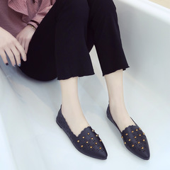 Flat Bottom Shallow Pointed Solid Color Women's Shoes Casual Woman Flat Shoes black 36