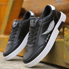 Lace-up White shoes Feather Round Head Shoes Casual Shoes Men's Sports Shoes Canvas Shoes black 39