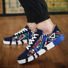 Men's Round Head Front Tie Casual Shoes Canvas Shoes Sports Men's Shoes blue 42