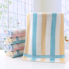 Plain Striped Cotton Towel Soft And Comfortable Absorbent Skin Color Life Bathroom Products 35*75CM yellow one size
