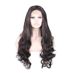 Real Human Hair Front Lace Natural Black Wig Woman Long Curly Hair Wigs Cap black one  size