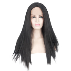 Synthetic Wig Long Straight Hair Front Lace Wig Hand Hook Black Wig Woman black one  size