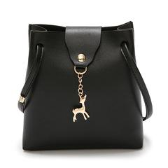 PU Handbags Wild Simple Shoulder Bag Diagonal Package Deer Pendant Bucket Bag black one size
