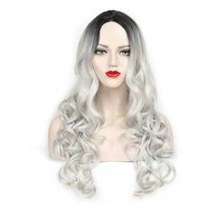 Ladies Black Silver Gray Head Gradient Synthetic Wig Long Curly Hair Wigs Cap Woman the picture color one  size