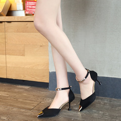 Women's Shoes Pointed Shallow Mouth Shaped With Ladies High Heels Fashion Sandals black 34