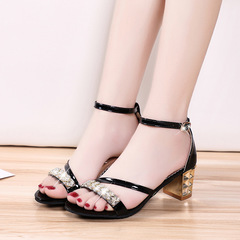 High-Heeled Women's Solid Color Sandals Thick With Open Toe Rhinestone Bag With Women's Shoes black 35