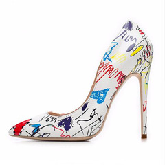 PU Single Shoes Pointed Shallow Mouth Fancy High Heels Large Size Women's Shoes white 36