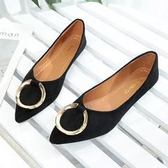 Women's Singles Pointed Flat Flat Shoes Solid Color Work Shoes Women's Small Shoes black 36