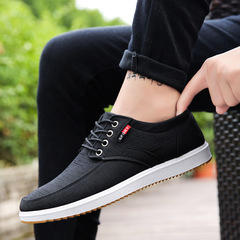 Casual Shoes Men's Canvas Shoes Round Head Front With Low-Cut Shoes Wild Shoes black 39