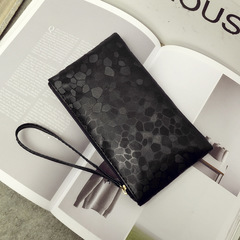 PU Women's Clutch Bag Mini Sequins Solid Color Small Bag Mobile Phone Bag Purse black one size