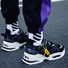 Front Strap Breathable Sports Shoes Men's Shoes Color Matching Old Shoes Thick Bottom Shoes black 39